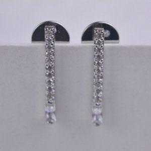 Henri Bendel Silver Long Square Earrings